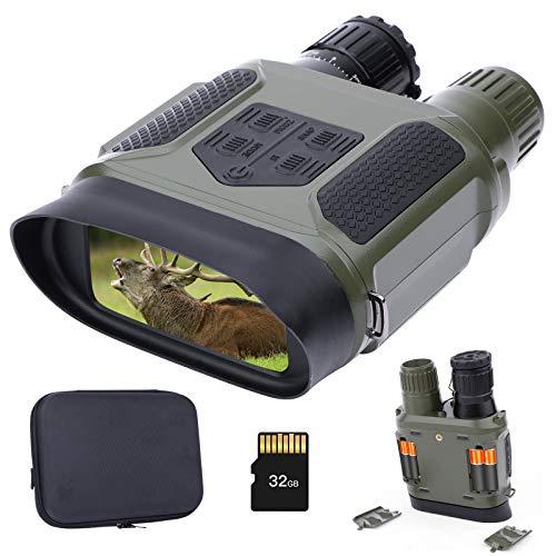 Occhiali per la Visione Notturna Binocolo a Infrarossi con Scheda di Memoria da 32 GB per Foto e Video Visione Chiara al 100% Nell oscurità Sorveglianza e Caccia Attrezzatura Notturna