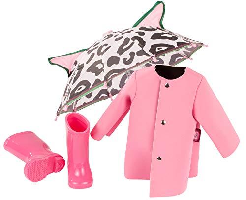 Götz 3403185 Puppen-Set Pink Rain - Puppenkleidung für Babypuppen Gr. M von 42 - 46 cm und Stehpuppen Gr. XL von 45 - 50 cm - 4-teiliges Set