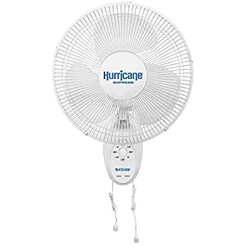 Hurricane HGC736500 Wall Mount Fan-12 Inch Supreme Series 90 Degree Oscillation 3 Speed Settings Adjustable Tilt-ETL Listed 12  White