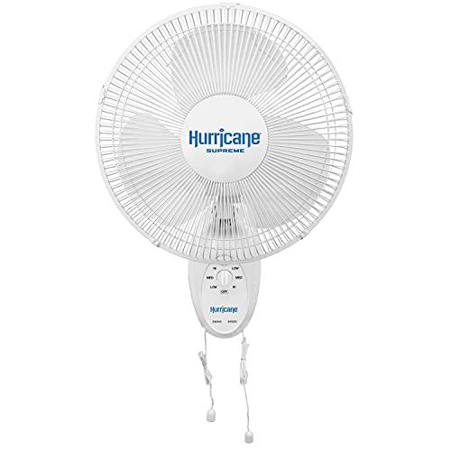 Hurricane HGC736500 Wall Mount Fan-12 Inch, Supreme Series, 90 Degree Oscillation 3 Speed Settings, Adjustable Tilt-ETL Listed, 12 , White