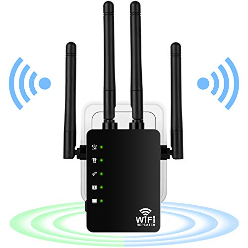 AC1200 WLAN Repeater Super-Boost WiFi 1200 Mbit/s, Dual Band WLAN Verstärker 867MBit/s 5GHz &300 MBit/s 2.4GHz mit 2 LAN Ports, 3dBi x4 Antennen kompatibel zu allen WLAN Geräten, Elegantes Design
