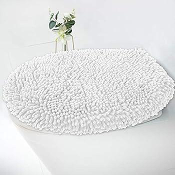 MAYSHINE Seat Cloud Bath Washable Shaggy Microfiber Standard Toilet Lid Covers for Bathroom -White