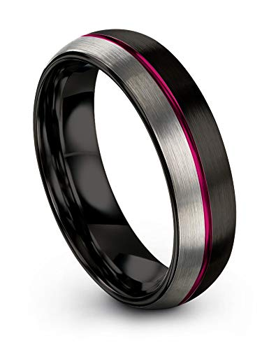 Chroma Color Collection Tungsten Carbide Wedding Band Ring 6mm for Men Women Fuchsia Center Line Black Interior with Dome Grey Exterior Half Brushed Polished Comfort Fit Anniversary Size 11.5