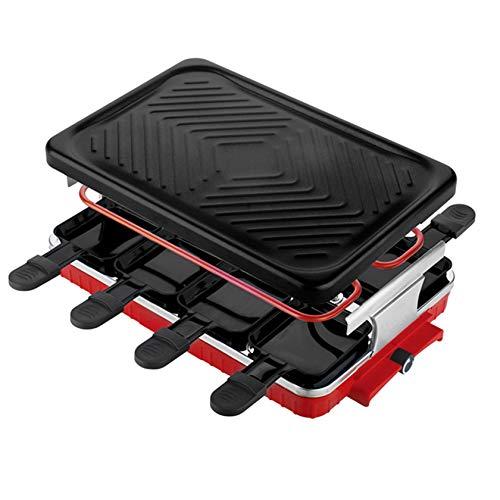 NHJUIJ Rechteck Doppelschichten Desktop-Rauchlose Elektro Pfanne Grill BBQ Grill Raclette Grill Elektrische Kochplatte 1300 Watt,1300W