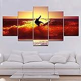 No Cuadro en Lienzo 5 Partes Pintura en la Pared Sunset Surf Waves Picture Painting Vintage Artwork Poster Sin Marco FFFCJYQ