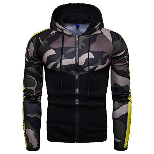 Kaiki Stitching Camouflage Männer Hoodie Sweatshirt Herbst Winter Männer Langarm Jacke T-Shirt(X-Large,Armeegrün)