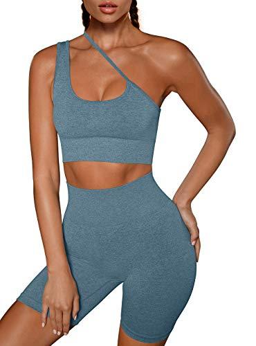 OYS Women's Workout 2 Piece Outfits Running Yoga Padded Racerback Sports Bra Seamless High Waist Active Shorts Sets Dark Green