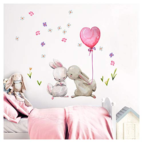 Little Deco Wandtattoo Babyzimmer Küssende Hasen Ballon I L - 100 x 92 cm (BxH) I Luftballon Rosa Kinderbilder Deko Kinderzimmer Mädchen Aufkleber Sticker DL230