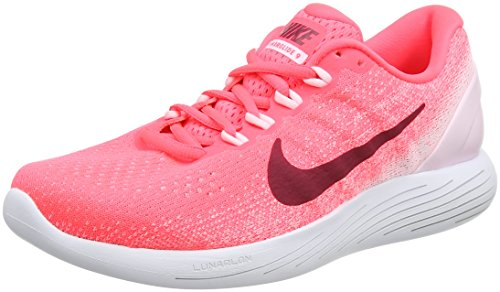 Nike Damen WMNS Lunarglide 9 Laufschuhe, Orange (Hot Punch/Arctic Pink/White/Noble Red), 38 EU
