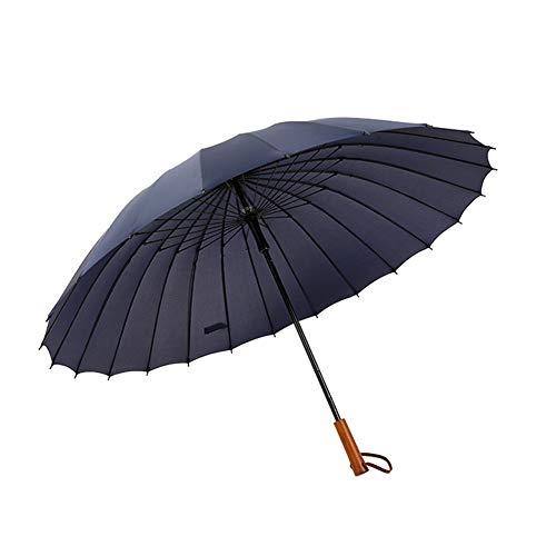 SCKL Stockschirme Mit 24 Fiberglas Rippen Wind- Und Wasserdichter Kompaktschirm Holzgriff Lange Gerade Golf Regenschirm 113Cm Groß Regenschirm,Blau