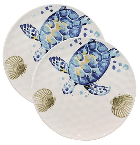 Ebros Nautical Marine Coastal Blue And White Sea Turtle Ceramic Dinnerware For Beach Party Hosting Kitchen And Dining Earthenware Serveware (Round Dinner Plate 11D, 2)