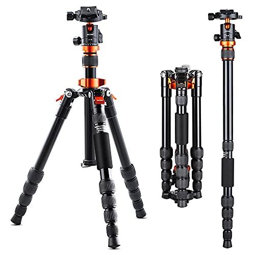 K&F Concept - Treppiede per Fotocamere SA225M1, Treppiedi fotocamera con Monopiede e 360 Gradi Testa a Sfera 337mm - 1290mm