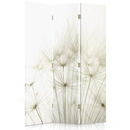 Feeby Frames. Home Office Raumteiler, Gedruckten auf Canvas, Leinwand Wandschirme, dekorative Trennwand, Paravent einseitig, 3 teilig (110x150 cm), LÖWENZAHN, Natur, Pflanzen, WEIß