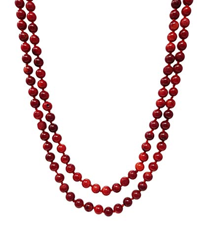 TreasureBay Beautiful 7mm round red coral necklace for Women length 120cm Necklace Presented in a Gift Box