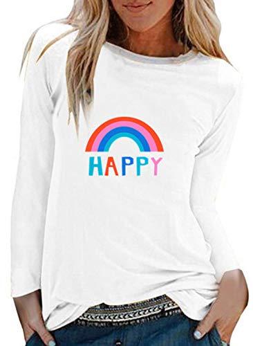 FOBEXISS Sudadera de manga larga con estampado de letras del arco iris coloridas, cuello redondo, para mujer