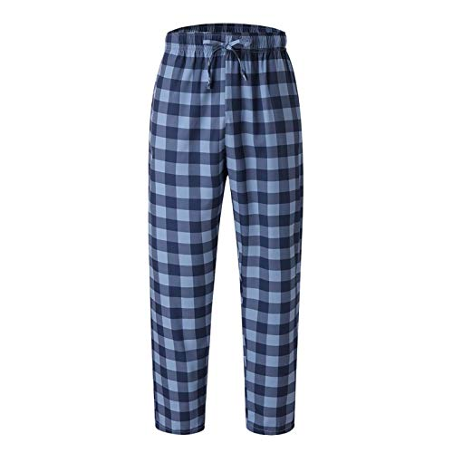 LEYUANA Pantalones a Cuadros para Hombre, Pantalones de Pijama Sexy a Cuadros Sueltos S Azul