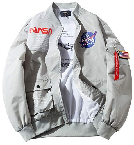 ROSEUNION NASA Chaqueta Ma-1 Impresión Cierre De Cremallera Jacket Sporty Bomber Suelto Casual para Abrigos Espesar Modelos De Pareja (Medium, Gris)