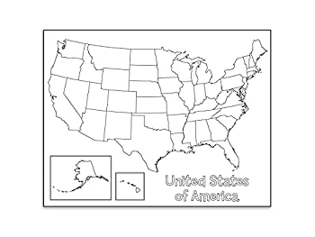 """Hygloss Products Creative Learning Poster - U.S.A Map - Art Activities for Classroom Kids' Camps Events Parties & More - Black Design on White Paper - 17"""" x 22"""" - 24 Posters per Pack"""