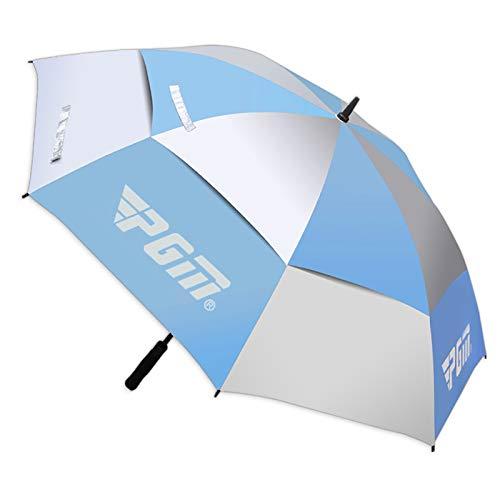 PGM Golfschirm Automatik 134cm Regen UV Schutz Double Layer (Blau)