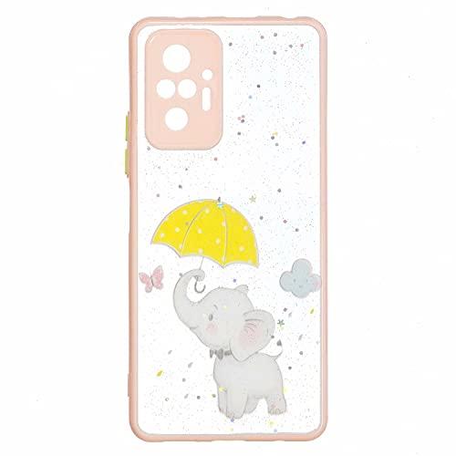 TYWZ Hülle Transparent Glitzer für Xiaomi Redmi Note 10 Pro,Handyhülle Slim Case PC Schale Hardcase Leicht Dünn Schutzhülle Glänzendes Cover-Elefant Regenschirm