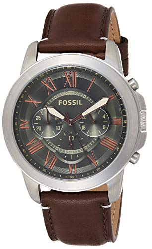 Fossil Men's FS5153 Grant Chronograph Brown Leather Watch