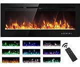 M.C.Haus Chimenea eléctrica pantalla táctil panel de vidrio colorido inserto de llama calentador montado en la pared con cristal y conjunto de registro, 900/1800 W (102 cm, negro)