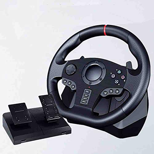 LJHLJH Jeu Pc Racing Volant et pédales étage 900 ° Direction Réelle Force Feedback Paddle Shifters Pédales de Sol Support Ps3 / 4, Xbox One, Switch
