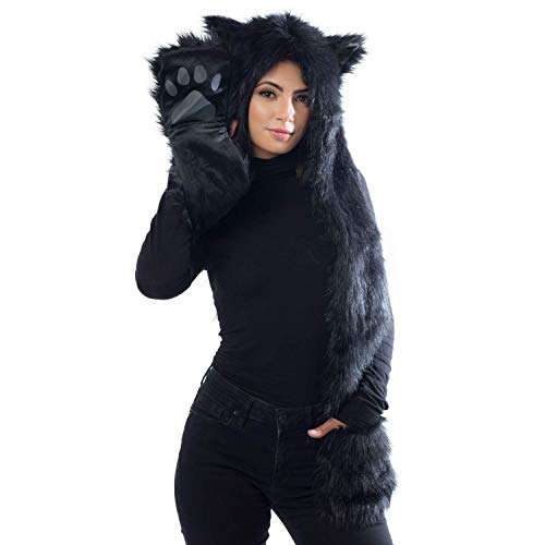 Black Panther Animal Hat Hood, Mittens Gloves Scarf, Faux Fur, Ears and Paws