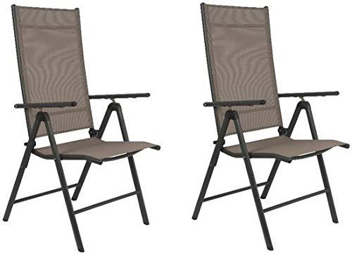 Maxx - Set di 2 sedie Pieghevoli da Giardino, Giardino, terrazza, Balcone, in Alluminio e plastica, Beige