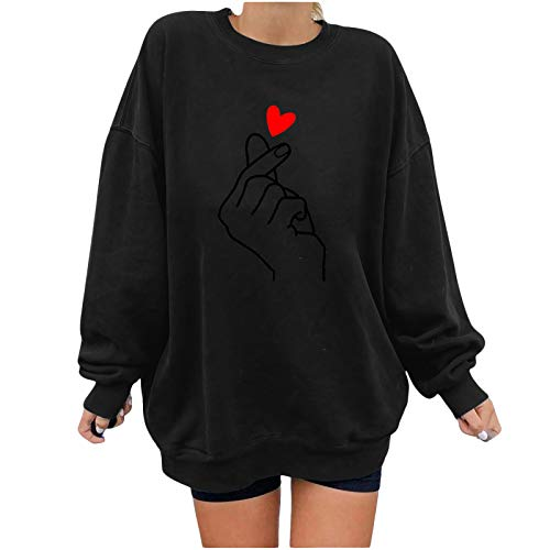 JMMSlmax Fall Sweatshirts for Women Oversized Sweatshirts Teen Girl Graphic Shirt Funny Inspirational Pullover Tees Black