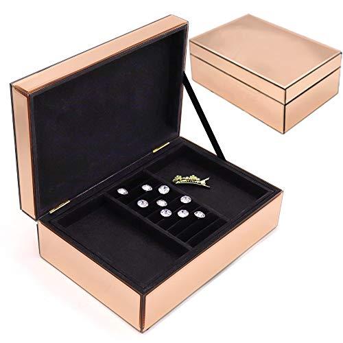 Meetart Zweischichtige bewegliche Struktur Rosen golden. Spiegel Glas S chmuckschatulle einfache klassische große praktische Aufbewahrungs box, High-End-Luxus