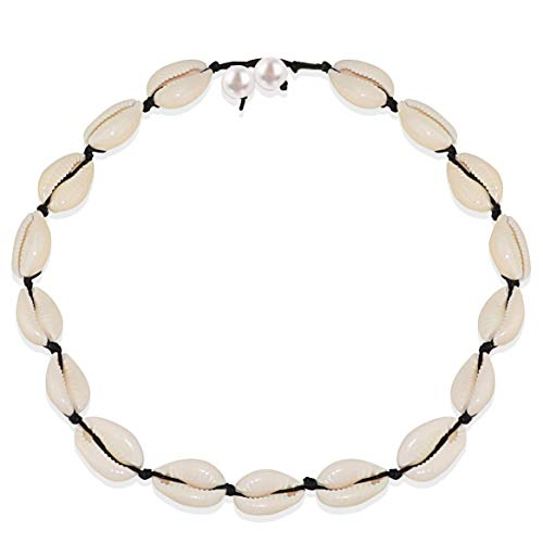Gleamart Shells Necklace White Natural Beach Shell Choker Necklace for Women Pearl Black