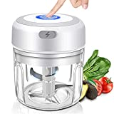 Wireless Electric Garlic Chopper, Mini Garlic Machine Garlic Blender Food Processor with Stainless Steel Blades, USB Rechargeable Portable Meat Grinder Mincer for Fruit Vegetable Onion Nuts 250ML