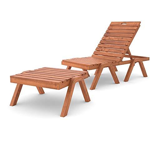 Pool-Liege Nizza mit verstellbarer Rückenlehne aus Holz wetterfest aus sibirischer Lärche