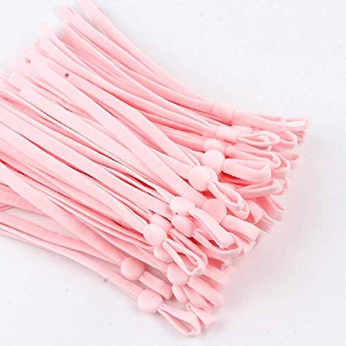 NIKB Pink Elastic Band for Sewing with Adjustable Buckle Pink Adjustable Elastic Ear Loops Adjustable Ear Straps Pink Earloop Lanyard Earmuff Rope 100PCS 1/5inch Adjustable Pink