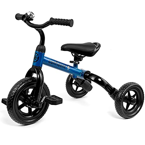 3 in 1 Toddler Tricycles for 2 - 4 Years Old Boys and Girls with Detachable Pedal and Bell | Foldable Baby Balance Bike Riding Toys for 18 Month Up Kids | Infant First Birthday New Year