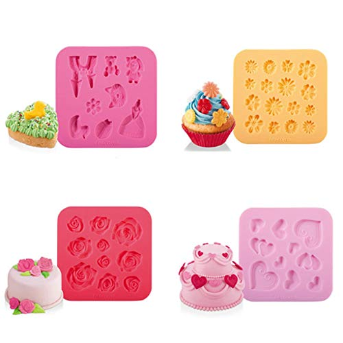 YYQX Bakgereedschap, 4 stuks prachtig gevormde hart-vormige roos dier voedsel kwaliteit siliconen mal voor Ice Cube Tray, elke ambachten -10.17