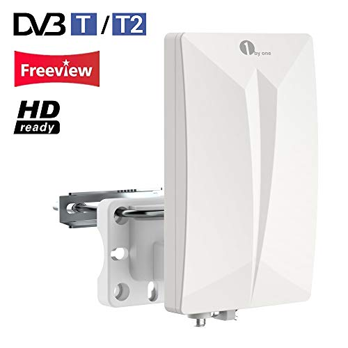 1Byone Antena TV TDT Interior/Exterior para HDTV/Televisión DVB-T/DVB-T2 / Receptor, VHF/UHF/FM, 4G LTE Fliter antirreflejos, Revestimiento UV, Resistente al Agua y bündiges Diseño