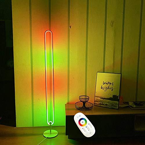 Stehlampe Wohnzimmer LED, RGB Farbwechsel Lichtsaeule Eck Stehleuchte, Dimmable Schlafzimmer Ecklampe, 80W, Höhe 135cm Farbtemperaturen und Helligkeit Stufenlos Dimmbar Standllampe (Fernbedienung)