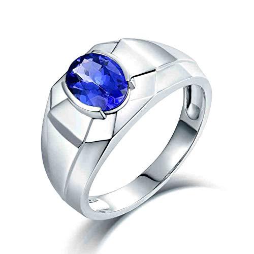 AnazoZ Anillo Tanzanita Hombre,Anillos de Compromiso Oro Blanco 18 Kilates Plata Azul Oval Simple Tanzanita Azul 1.16ct Talla 26
