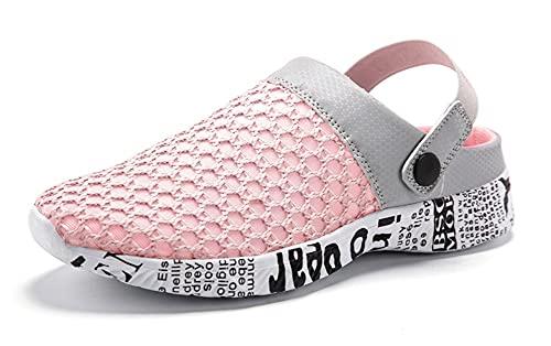 Gaatpot Mujer Zuecos de la Red del Acoplamiento Zapatillas de Playa Ahueca hacia Fuera Las Sandalias Chanclas de Verano Rosa 34 EU = 35 CN