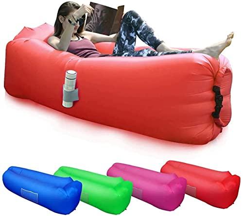 BACKTURE Aufblasbares Sofa, Aufblasbarer Lounger mit bequemen Kissen, Tragbares Luft Sofa, Luft Couch, für Camping, Urlaub, Wandern(Rot)