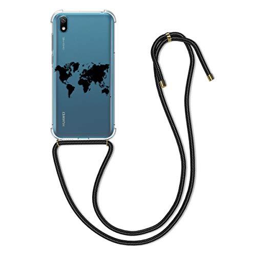 kwmobile Funda con Cuerda Compatible con Huawei Y5 (2019) - Carcasa de TPU con Colgante Mapa del Mundo Negro/Transparente