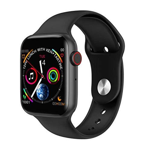 HW12 - Reloj inteligente deportivo con monitor de ritmo cardíaco y presión arterial, para hombres y mujeres, reloj inteligente para iOS y Android, llamadas Bluetooth (40 mm, negro)