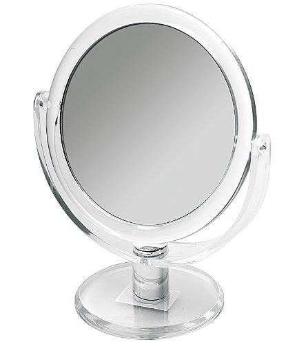 Doppelseitiger Kosmetex Acryl Kosmetik-Spiegel 20cm hoch, rund, Stand-Spiegel mit 2- fach Vergrößerung, Groß