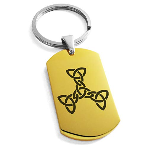 Gold Plated Stainless Steel Celtic Triquetra Interlaced Knot Symbol Dog Tag Keychain Keyring