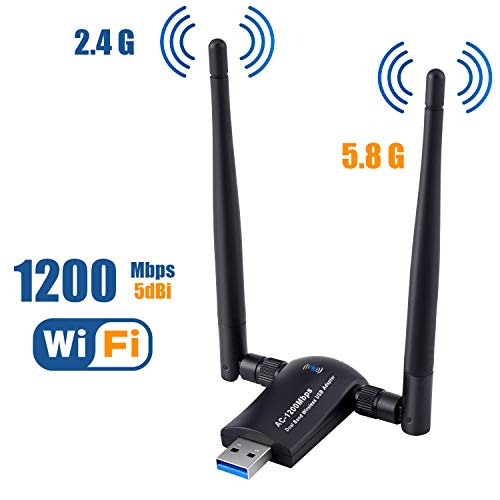Wireless USB WiFi Adapter 1200Mbps USB 30 Wireless Network WiFi Dongle High Gain with 2 X 5dBi Antennas for PC/Desktop/Laptop/Mac Supports Windows 10/8/81/7 1