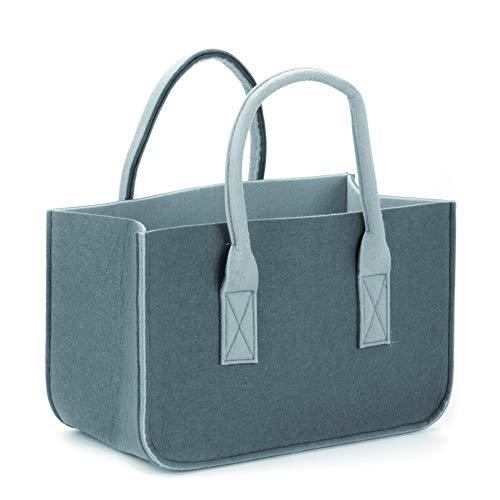 NaturGut vilten tas vilt draagtas shopper boodschappentas haardhout mand grijs 50x25x25
