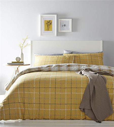 Homemaker Tartan check duvet set ochre yellow duckegg or mauve purple bedding quilt cover & pillow case (Ochre,King)