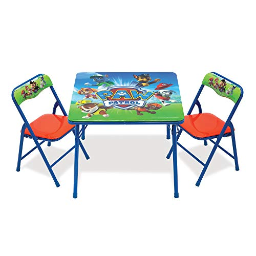 Paw Patrol Activity Table Sets – Folding Childrens Table & Chair Set – Includes 2 Kid Chairs with Non Skid Rubber Feet & Padded Seats – Sturdy Metal Construction